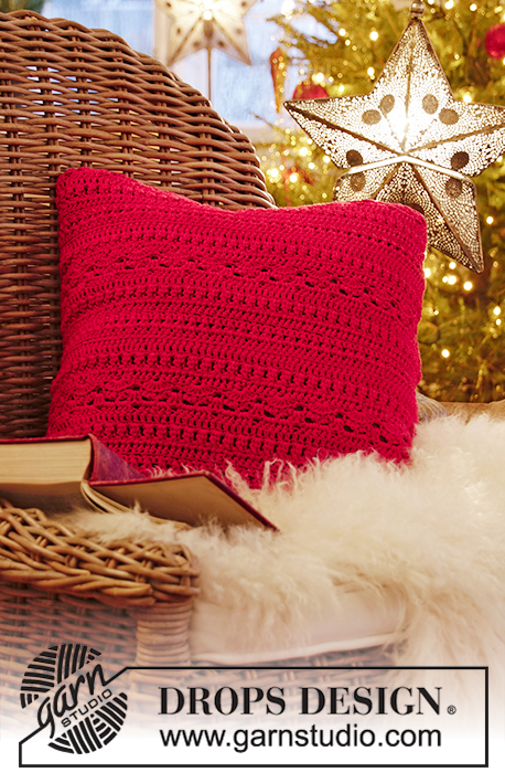 Merry Pillow / DROPS Extra 0-1445 - Crocheted cushion cover with textured pattern in DROPS Muskat. Theme: Christmas.