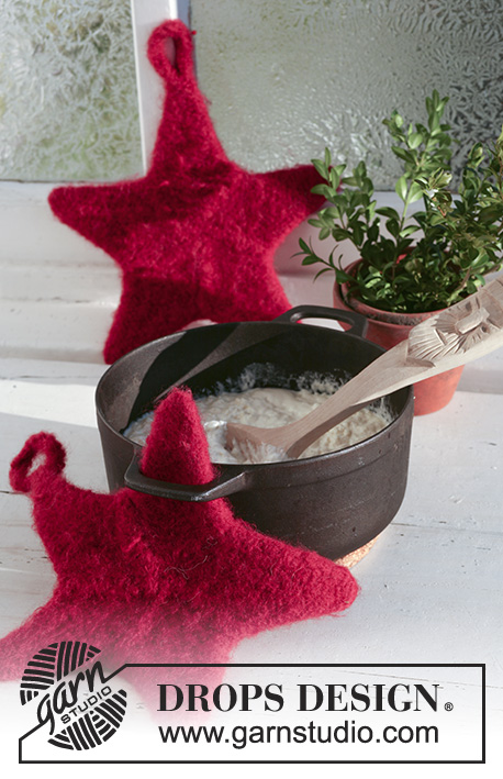 5 Stars Dinner / DROPS Extra 0-529 - Felted star shaped potholders in DROPS Eskimo. Theme: Christmas.