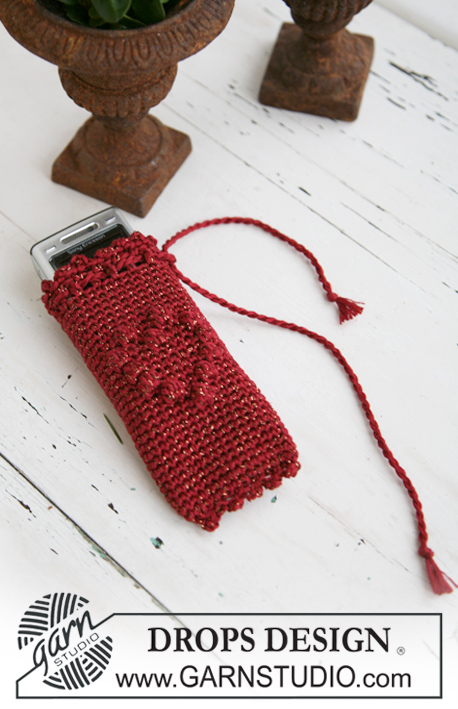 DROPS Extra 0-574 - Crochet DROPS bag and mobile phone pocket for the Christmas party in Cotton Viscose and Glitter.