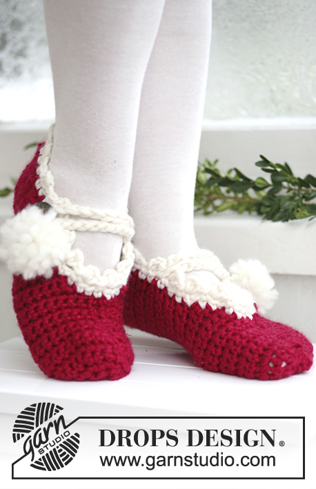 "Mary Xmas / DROPS Extra 0-578 - Crochet DROPS Christmas slippers in ""Eskimo"" and ""Glitter""."
