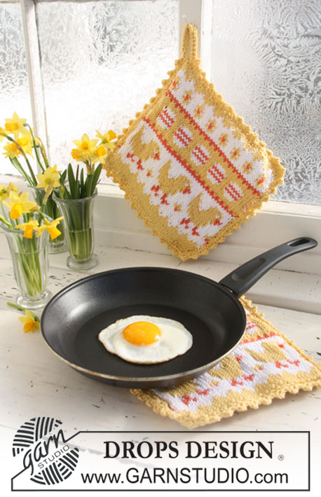 Easter Brunch / DROPS Extra 0-626 - DROPS knitted Easter pot holder with pattern in Paris.