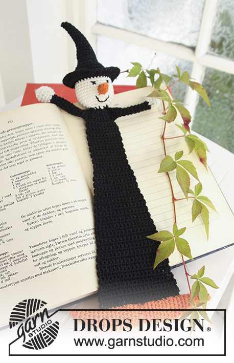"Obliviate! / DROPS Extra 0-704 - Crochet DROPS book mark with witch in ""Safran"" for Halloween."