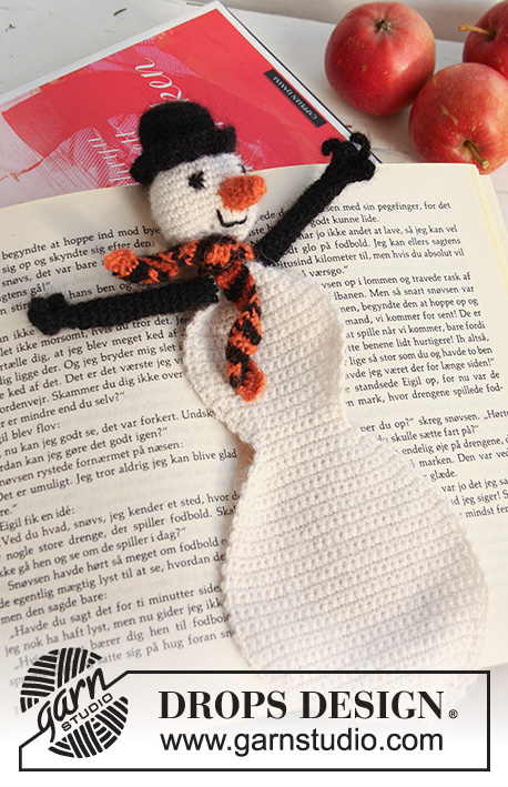 DROPS Extra 0-737 - Crochet DROPS snowman bookmark for Christmas in Alpaca.
