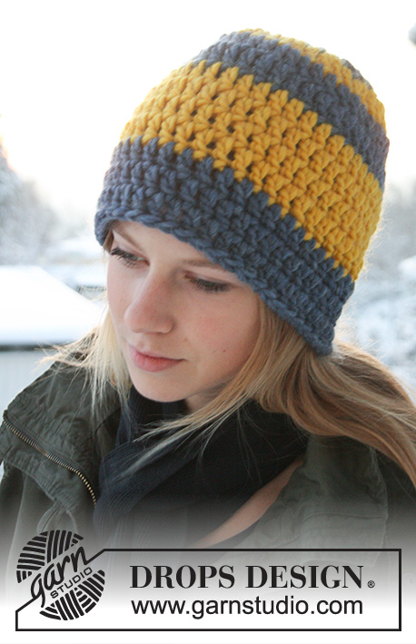 Awesome Winter / DROPS Extra 0-752 - Crochet DROPS hat in Eskimo.