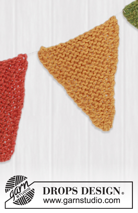 DROPS Extra 0-783 - Knitted DROPS garland with pennants in Alpaca