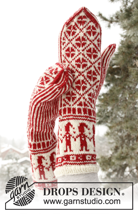 Handy Elves / DROPS Extra 0-791 - Knitted DROPS mittens with Christmas pattern in Fabel.