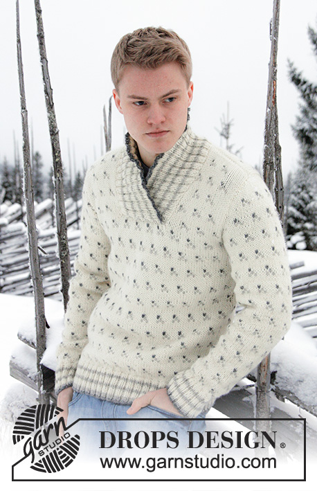 Drops extra 0 808 free knitting patterns by drops design drops extra 0 808 knitted jumper for men with pattern and shawl collar dt1010fo