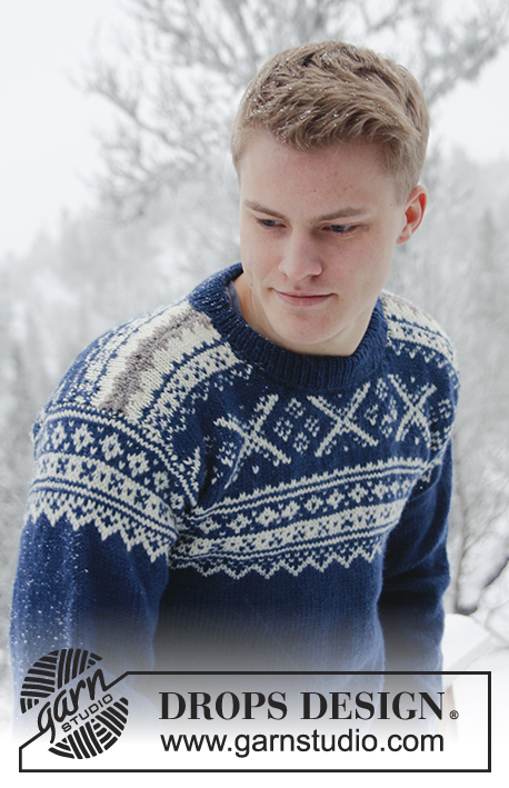 Nordic Midnight / DROPS Extra 0-809 - Knitted jumper for men with Norwegian pattern, in DROPS Karisma. Size: S - XXXL.