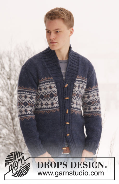 Harald / DROPS Extra 0-813 - Men's knitted jacket in DROPS Alaska, with pattern and shawl collar. Size: S - XXXL.