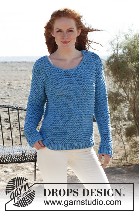 Sweet Lady Blue / DROPS Extra 0-830 - Knitted DROPS jumper in garter st in Ice or in Eskimo