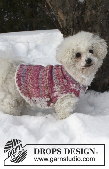 "Warm Banjo / DROPS Extra 0-835 - Knitted DROPS dog's vest in ""Fabel"" and ""BabyMerino"" with edges in ""Symphony"". Size XS - L."