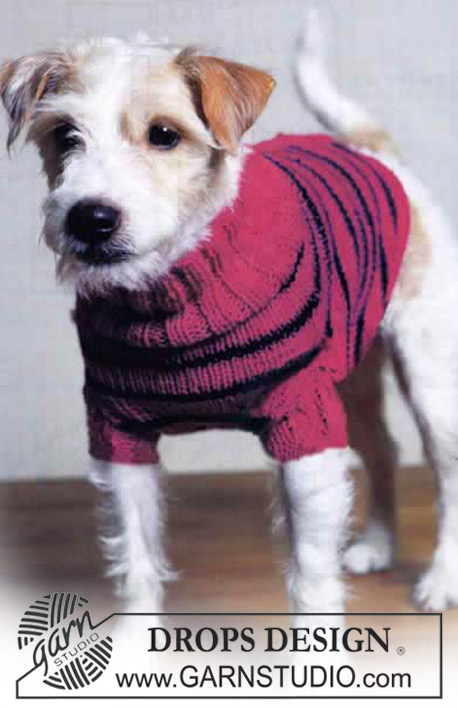 DROPS Extra 0-84 - DROPS striped dog sweater