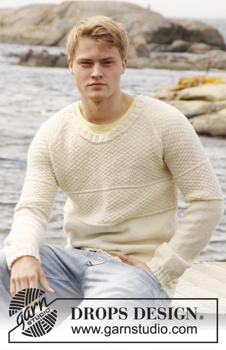 "Celtic Ballad / DROPS Extra 0-851 - Knitted DROPS men's jumper with raglan and double moss st in ""Lima"" or Merino Extra Fine. Size: S - XXXL."