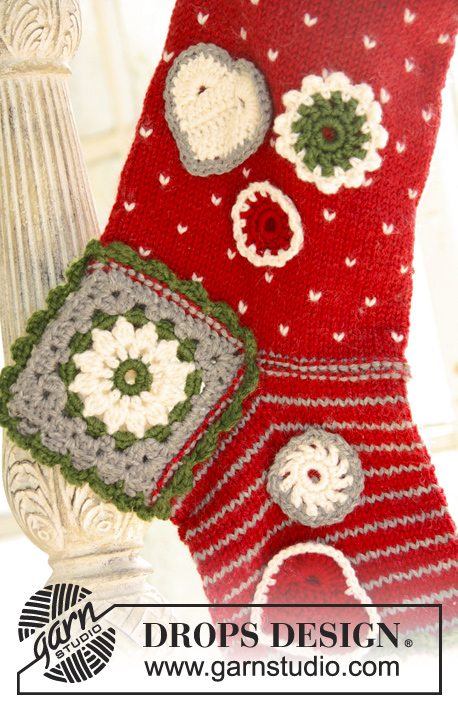 "Fill Me Up, Santa / DROPS Extra 0-857 - Knitted and crochet DROPS Christmas stocking in ""Karisma""."