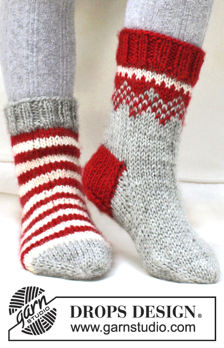 "Twinkle Toes / DROPS Extra 0-865 - Knitted DROPS Christmas socks in ""Karisma""."