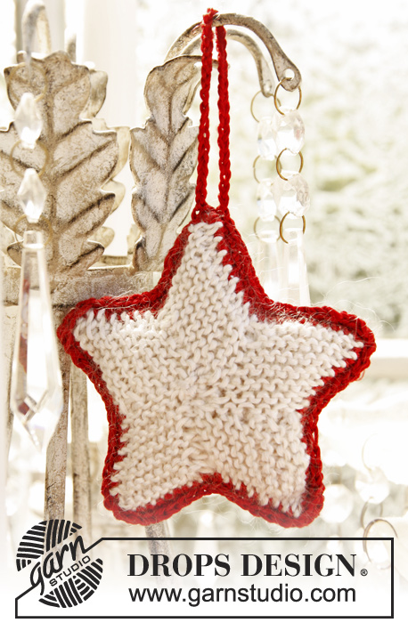 DROPS Extra 0-873 - Knitted DROPS Christmas star in Cotton Viscose and Kid-Silk.