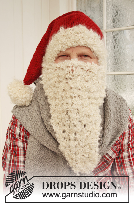 Mr. Kringle / DROPS Extra 0-875 - Knitted DROPS Santa's hat and scarf in Nepal and beard in 2 threads Puddel or 4 threads Alpaca Boucle.