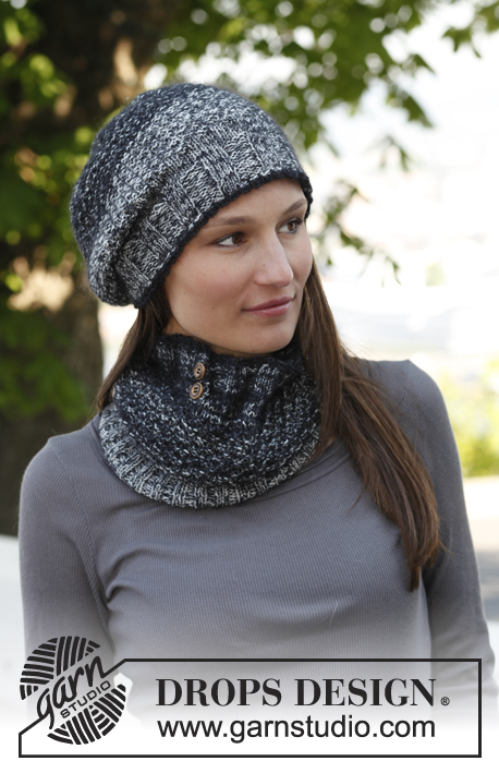 DROPS Extra 0-884 - Knitted DROPS hat and neck warmer with textured pattern in Fabel and Kid-Silk.