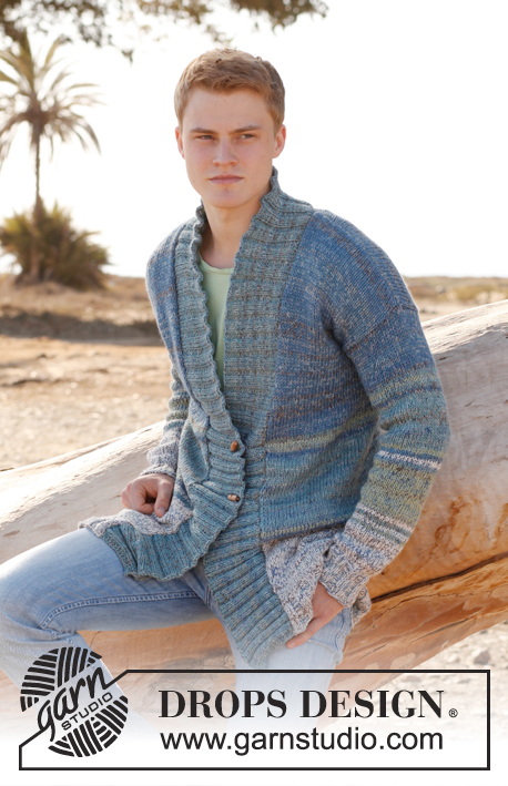 DROPS Extra 0-896 - Knitted DROPS men's jacket in Baby Alpaca Silk and Fabel. Size: S - XXXL.
