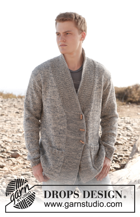 Beren / DROPS Extra 0-897 - Knitted DROPS men's jacket with shawl collar in 2 threads Fabel or Flora. Size: S to XXXL.