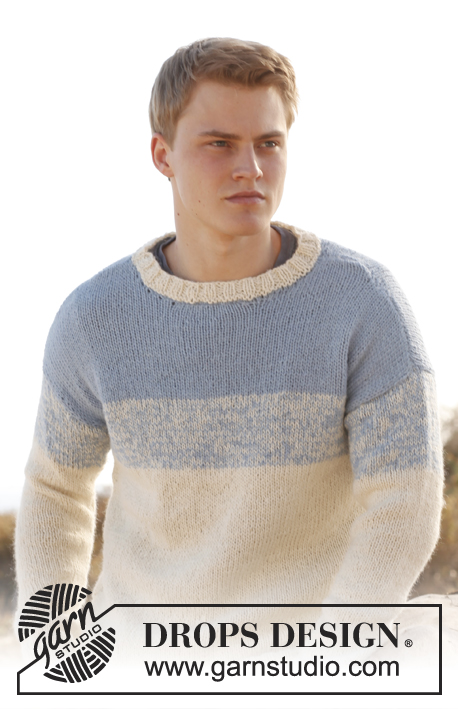 Blue Horizon / DROPS Extra 0-899 - Knitted DROPS men's jumper in 2 strands Alpaca. Size: S - XXXL.