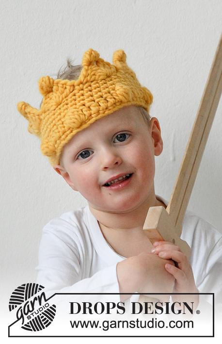 Free King Crown Crochet Pattern : King Arthur / DROPS Extra 0-924 - Geh?kelte Krone mit ...