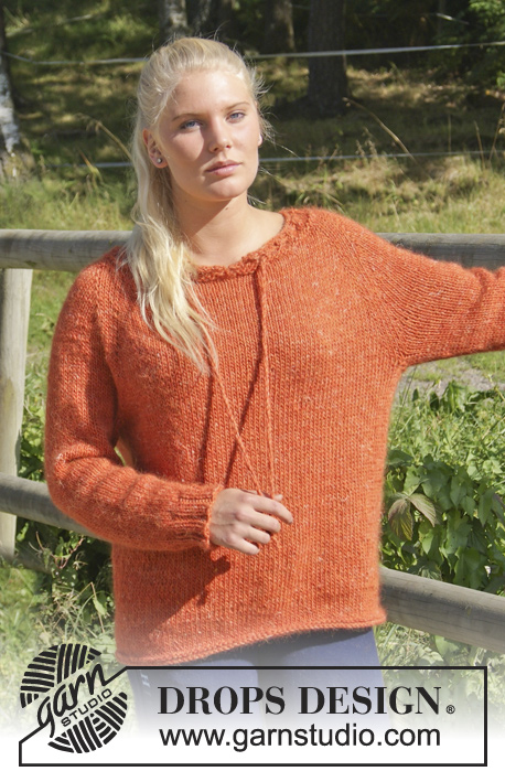 "Autumn Love / DROPS Extra 0-937 - Knitted DROPS jumper with raglan, eyelet holes and string, worked top down in ""DROPS ♥ YOU #4"" or ""Nepal"". Size: S - XXXL."