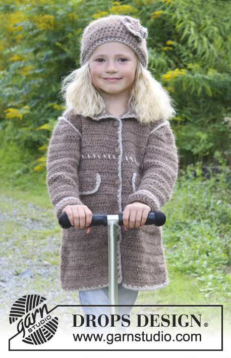 "Matilda / DROPS Extra 0-938 - Crochet DROPS coat and hat with decorative edges in ""DROPS ♥ YOU #4"" or ""Nepal"". Size 3 - 12 years."