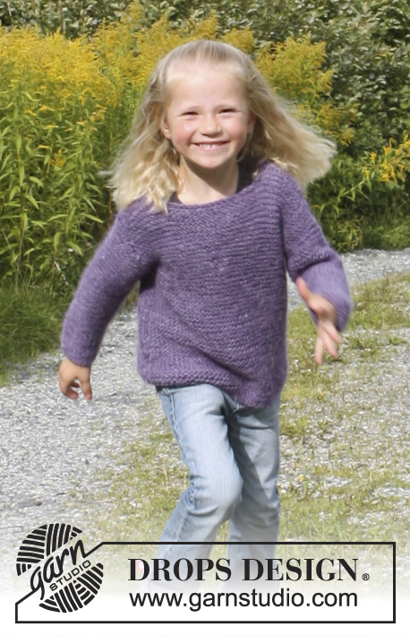 "Jenny / DROPS Extra 0-941 - Knitted DROPS jumper in garter st in ""DROPS ♥ YOU #4"". Size 3 - 12 years."