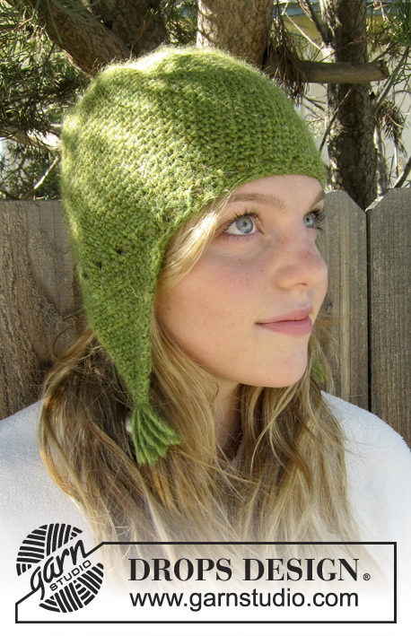 Granny Smith / DROPS Extra 0-943 - Crochet DROPS hat with ear flaps in DROPS ♥ YOU #4 or Nepal.