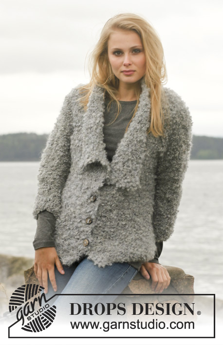 DROPS Extra 0-950 - Knitted DROPS jacket in garter st with lapels in Puddel. Size: S - XXXL.