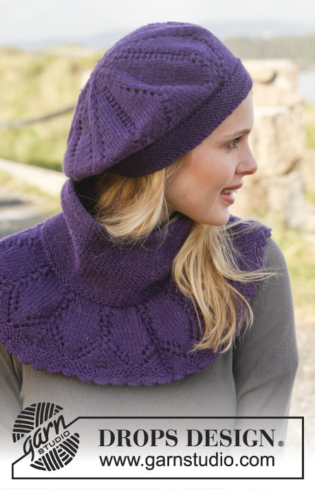 "Dear Mary / DROPS Extra 0-959 - Set consists of: Knitted DROPS neck warmer and hat with lace pattern in ""Lima""."