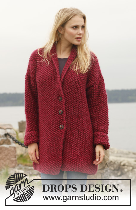"Ruby Bay / DROPS Extra 0-963 - Knitted DROPS jacket in seed st with shawl collar in ""Eskimo"". Size: S - XXXL."