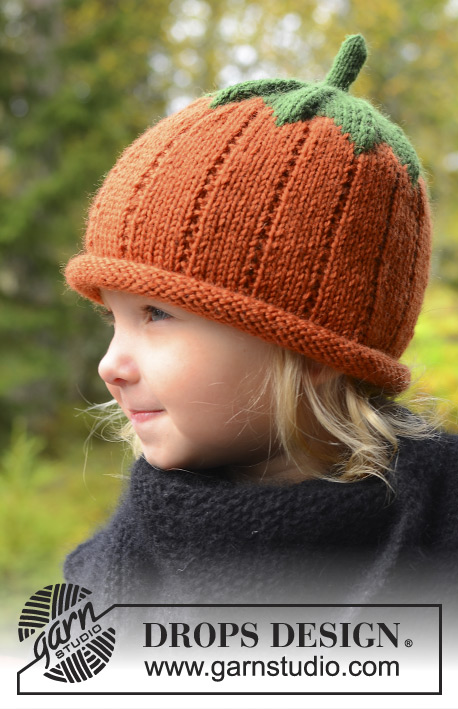 Sweet Pumpkin / DROPS Extra 0-966 - Knitted hat for baby and children in DROPS Karisma. Sizes 0 - 8 years. Theme: Halloween