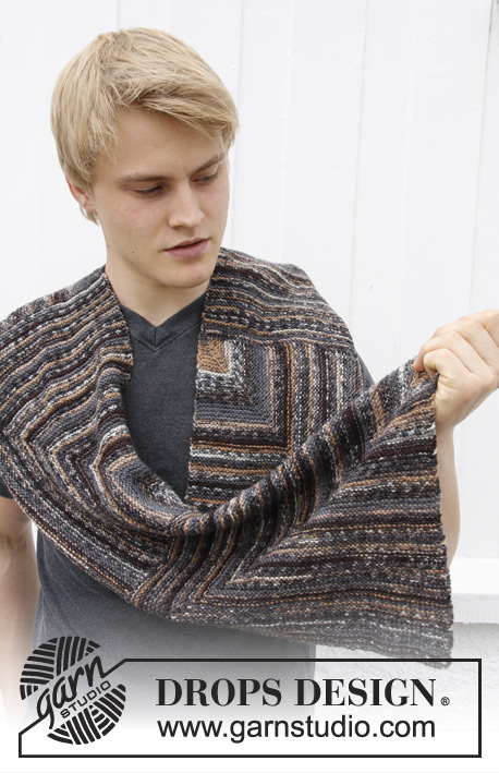 Graham / DROPS Extra 0-972 - Men's knitted scarf with domino squares in DROPS Fabel.