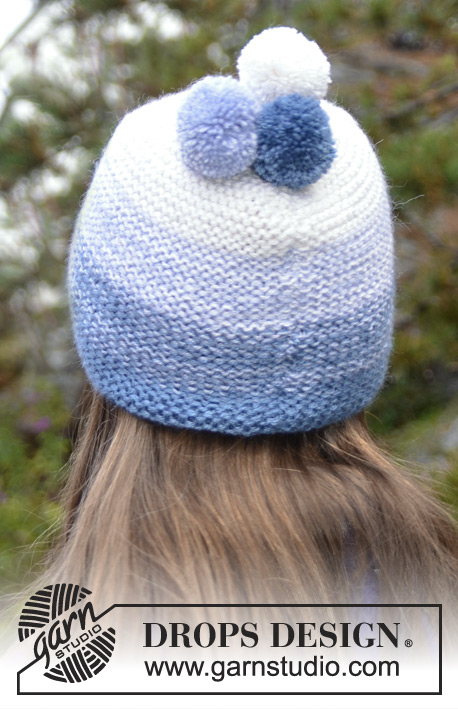 "Blue Sky / DROPS Extra 0-979 - Knitted DROPS hat with stripes in 2 strands ""BabyAlpaca Silk""."