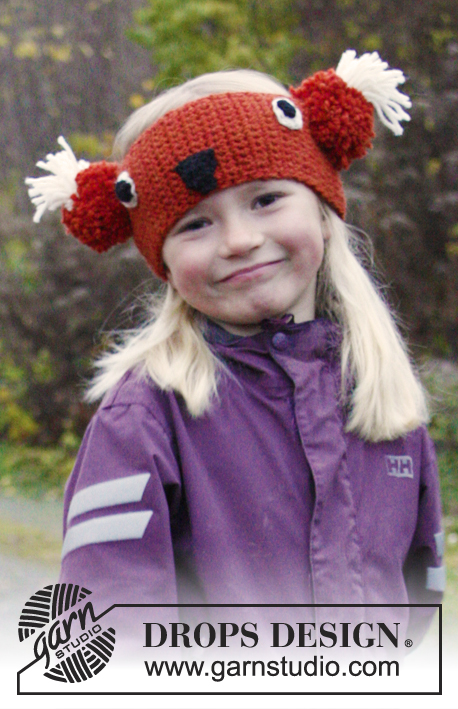 DROPS Extra 0-984 - Crochet DROPS fox head band in Nepal. Size 3-12 years