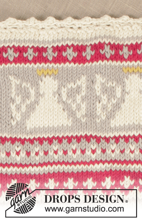 "Holy Cookie! / DROPS Extra 0-994 - DROPS Christmas: Knitted DROPS pot holder in ""Paris"" with angels for Christmas."