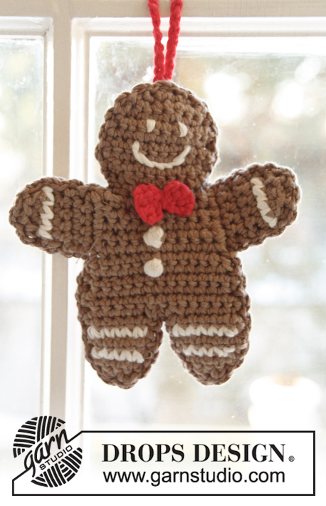 Gingy / DROPS Extra 0-999 - DROPS Christmas: Crochet DROPS gingerbread man in 2 strands Safran.
