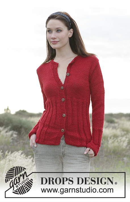 "Gillian / DROPS 100-2 - DROPS Jacket with rib in ""Silke Alpaca"""