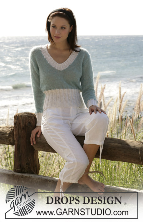 "Swansboro / DROPS 100-21 - DROPS jersey knitted in stocking sts with ""Vivaldi"" and rib in ""Alpaca""."