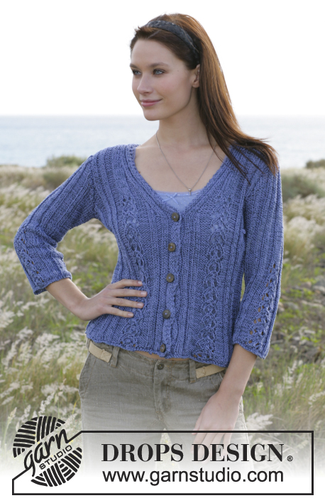 "DROPS 101-19 - DROPS cardigan with V-neck and textured border in ""Safran"" and ""Cotton Viscose""."