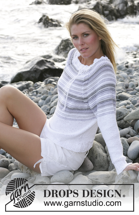 "DROPS 101-26 - DROPS sweater with raglan and stripes in ""Paris"""