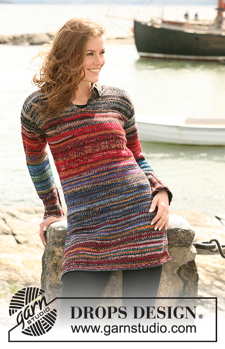"Autumn Lane / DROPS 102-1 - DROPS tunic with multi stripes in double strands ""Fabel"". Size S - XXXL."
