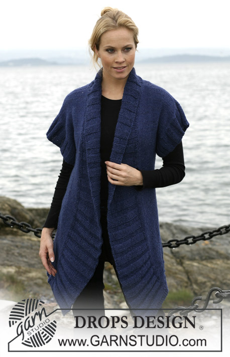 DROPS 102-21 - DROPS jacket with short sleeves and Rib in Silke-Tweed and Alpaca. Sizes: S - XXXL