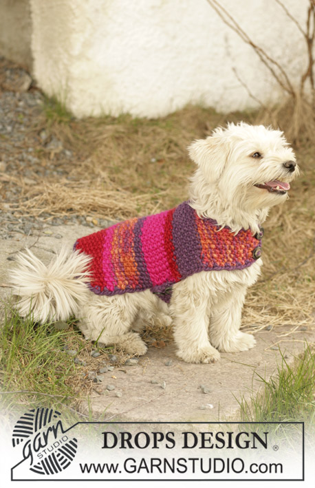 "Suzi / DROPS 102-40 - DROPS dog coat knitted in Seed stitch with ""Eskimo""."