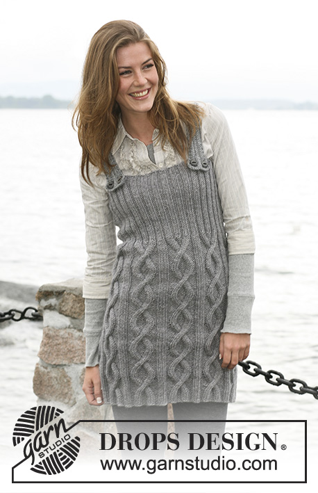 Winter Song / DROPS 103-6 - DROPS Dress with shoulder straps in Alaska knitted with cables and Rib, size S til XXL