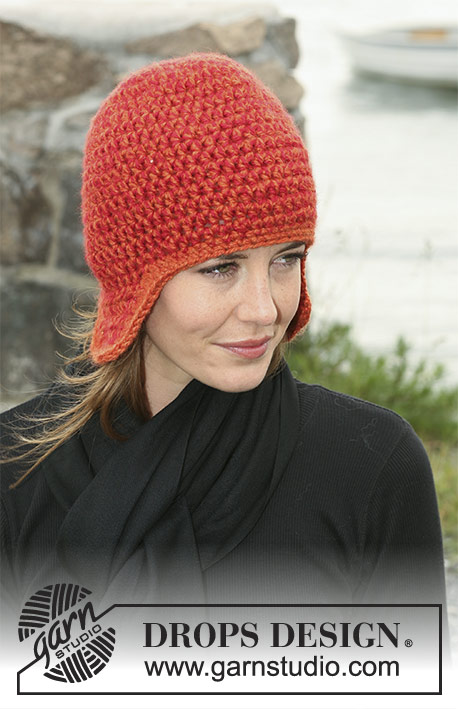 Anana / DROPS 104-25 - Crochet DROPS hat with ear flaps in 2 threads Silke-Alpaca or Nepal