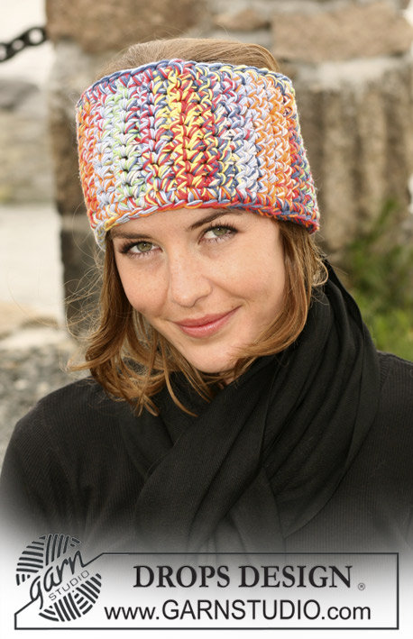 "DROPS 104-27 - Crochet DROPS head band in 4 threads ""Muskat Soft"""