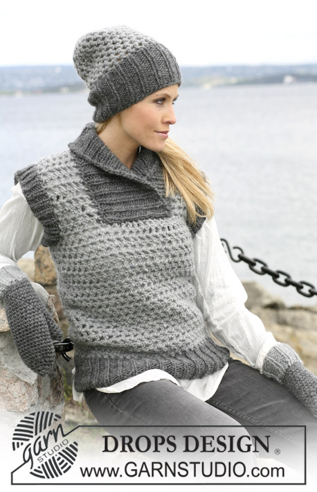 DROPS 104-30 - Crochet DROPS waist coat, hat and mittens with rib in Eskimo
